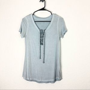 American Eagle Soft Sexy Lace Up Tee Dusty Blue XS